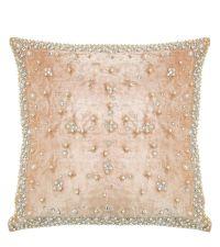 elegante Kissenhülle aus Samt mit Perlen & Dekosteinen  Samtkissen creme