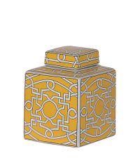 gelb / weiß gemusterte Keramikdose mit Trellis-Muster
