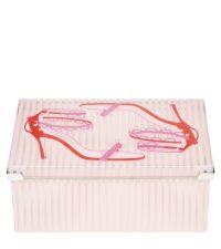 transparente Schuhbox Candy Stripe aus Kunststoff mit Schuhmotiven