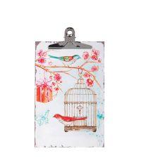 süßes Clipboard mit Blüten und Vogelmotiven weiß pink & türkis