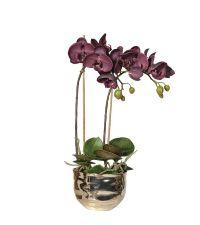 Kunstblumengesteck auberginefarbene Orchidee in goldenem Metalltopf
