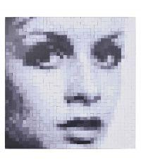 großes modernes Wandbild 'Twiggy' mit Pixel-Effekt schwarz-weiß