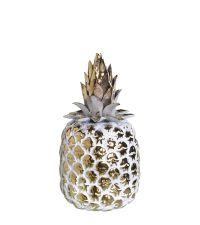 gold-weiß glänzende dekorative Ananas mit liebevollen Details