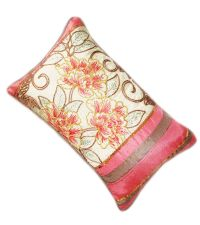 bestickte Dekokissenhülle mit Pailletten rosa / beige 30 x 50 cm
