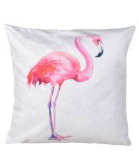 weißes Samtkissen mit pinkem Flamingo-Motiv