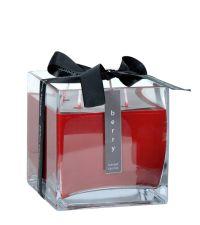 rote Duftkerze Berry in quadratischem Glas mit schwarzer Satinschleife groß