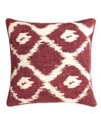 Kissenhülle im Ethno-Style mit geometrischem Muster rot & weiß