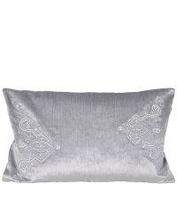 elegante Kissenhülle aus Samt mit orientalischer Stickerei & Perlen 30 x 50 cm silber