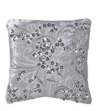 elegantes Dekokissen aus Samt mit Blüten aus Pailletten & Perlen  Samtkissen silber