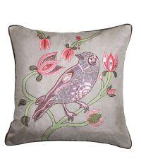 Kissenhülle in Seiden-Optik mit Vogelmotiv Blumenstickerei & Pailletten, taupe