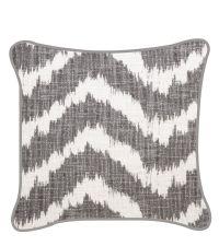 Kissenhülle im Ethno-Style mit Zickzack-Muster grau/weiß