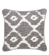 Kissenhülle im Ethno-Style mit geometrischem Muster grau & weiß
