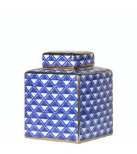 elegante Urne aus Keramik blau & weiß gemustert mit Goldrand Keramikdose