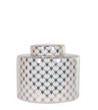 dekorative Urne runde Keramikdose mit geometrischer Verzierung gold & weiß klein