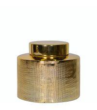 flache Urne aus Keramik mit strukturierter gold glänzender Oberfläche