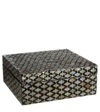 große Aufbewahrungsbox glänzend schwarz mit geometrischem Muster aus Perlmutt