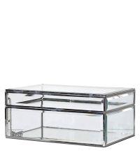 zarte Aufbewahrungsdose aus Glas mit silbernem Rahmen und verspiegeltem Boden