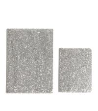 schimmerndes Glitter Notiz- & Adressbuch 2er-Set silber glatt
