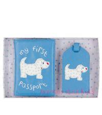 Reisepasshülle & Kofferanhänger mit Hundemotiv blau