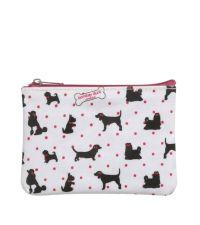 kleines Täschchen Börse mit Hundemotiven weiß & pink