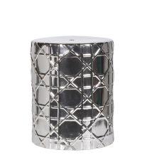 runder Hocker oder Beistelltisch mit gemometrischem Muster metallisch silber