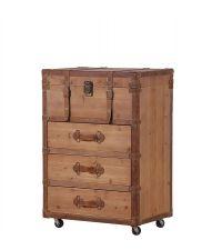Kofferkommode aus Holz mit Rollen Kanten aus braunem Leder