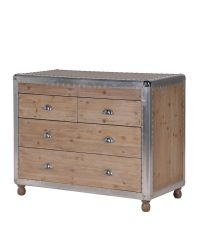 große Koffer Kommode aus Holz mit vier Laden und genieteten Kanten silber