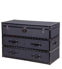 Kofferkommode mit grauem Filzbezug & Nieten