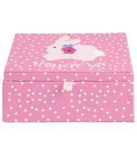 rosa gepunktete Aufbewahrungsbox mit Häschenmotiv