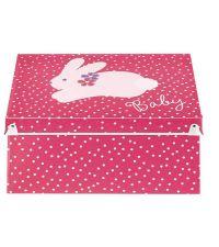 Aufbewahrungsbox Baby pink mit weißen Punkten
