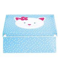 Aufbewahrungsbox Kitten hellblau mit weißen Punkten