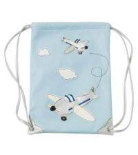 Lisbeth Dahl Rucksack Turnbeutel mit Flugzeugen hellblau