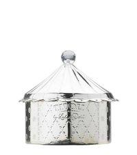 Dose helles Silber von Lisbeth Dahl mit Blumenmuster und Kristallknopf