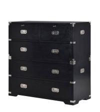 moderne Kommode im Koffer-Style aus schwarzem Holz mit Chromgriffen