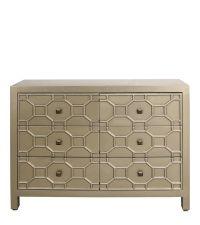große handbemalte goldene Kommode mit geometrischem Muster im Artdeco Stil mit orientalischem Flair, gold