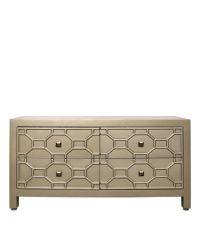 edle handbemalte goldene Kommode oder TV-Kommode mit geometrischem Muster im Artdeco Stil mit orientalischem Flair, gold