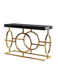 traumhafter Konsolentisch im Art-Deco Style mit schwarzer Glasplatte Füße gold