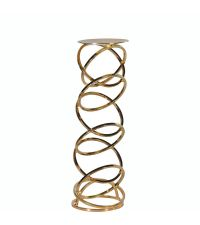 hoher moderner Kerzenständer aus zarten goldenen Metallringen