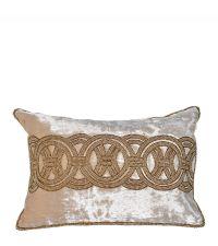 beige Dekokissenhülle aus Samt mit goldenen Perlen und geometrischem Muster OLS009