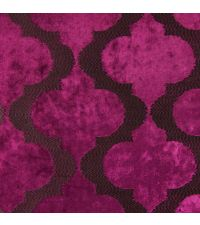edler Samtstoff mit großem, aufgestickten Trellis-Muster in Magenta
