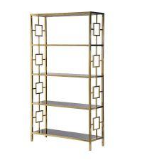 Bücherregal im Art-Deco Style mit goldenem Rahmen Regalböden aus schwarzem Glas