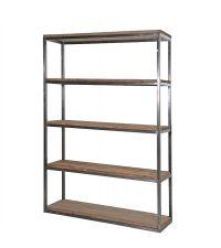 kleines Bücherregal Regal aus Pinienholz mit Chromrahmen