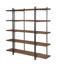 großes rustikales Bücherregal im Industrie-Style Vollholz & schwarzes Metall