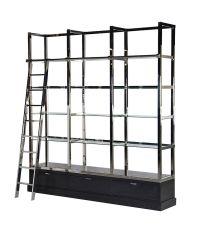 großes Bücherregal, Bibliothek mit glänzendem Rahmen aus Chrom & Glasböden, Korpus schwarz