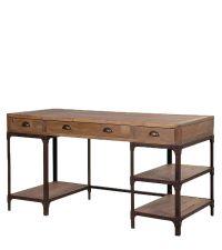 rustikaler Schreibtisch im angesagten Industriestil Kiefervollholz