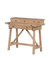 kleiner Sekretär Schreibtisch mit ausklappbarer Tischplatte Eiche Vollholz