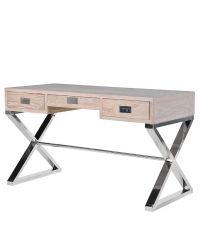 moderner Schreibtisch mit drei Laden aus Vollholz mit gekreuzten Chromfüßen