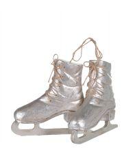 silber glänzende Eislaufschuhe-Anhänger mit Schnürsenkel