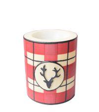 große hochwertige Weihnachts-Lampion-Kerze mit Karo-Muster und Hirsch-Motiv rot/weiß