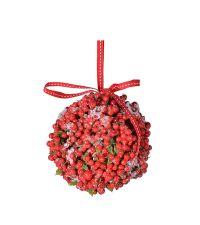 große Weihnachtskugel Feuerdorn mit roten Beeren und Schneekristallen